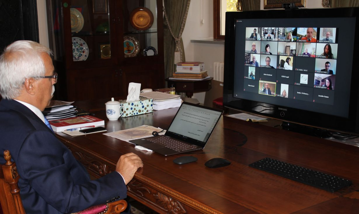 """Speaking at ALECSO virtual meeting on cultural heritage, IRCICA Director General invited countries to participate in expanding the """"IRCICA - Prince Sultan Bin Salman Islamic Architectural Heritage Database"""""""